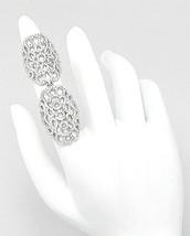 18K GOLD VERMEIL Pave Open Lace Cubic Zirconia Double Knuckle Ring-925 - $149.00