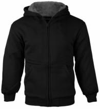 Boys Kids Athletic Sherpa Lined Fleece Zip Up Hoodie Sweater Jacket w/Defect XL image 2