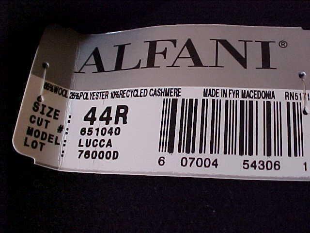 New nwt Alfani Italian Overcoat 44 R  cashmere blend Reg$425.