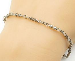 925 Sterling Silver - Vintage Petite Twist Ball Bead Link Chain Bracelet... - $24.46