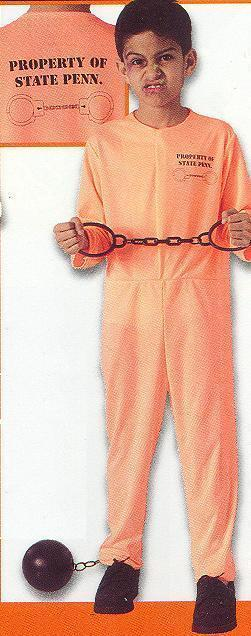 STATE PENN CONVICT ORANGE JUMPSUIT COSTUME SZ CHILD MD 8/10