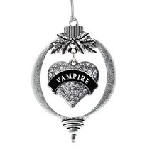 Inspired Silver Vampire Pave Heart Holiday Christmas Tree Ornament With Crystal  - $14.69