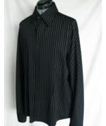7 Diamond Dress Shirt L Black white stripe Embossed Buttons Poly Cotton ... - $32.25