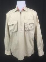 B15 Mens M Medium Timberland tan 1/4 Zip long sleeve jacket / coat / pul... - $9.46