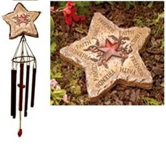Star Stepping Stone & Windchime Set Yard Decor Inscribed Faith Family Friends  - $24.88
