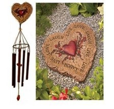 Stepping Stone and Windchime Set - Heart Shaped with Live Love Laugh Sentiment  - $24.88