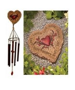 Stepping Stone and Windchime Set - Heart Shaped with Live Love Laugh Sen... - $24.88