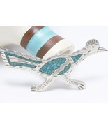 Vintage Road Runner Sterling Silver Turquoise Inlay Brooch Mexico - $45.00