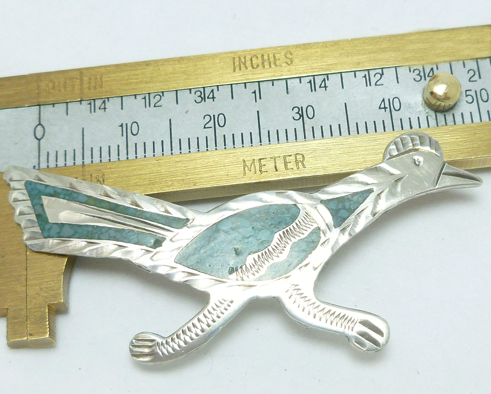 Vintage Road Runner Sterling Silver Turquoise Inlay Brooch Mexico