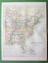 1882 Antique Map COLOR - UNITED STATES Eastern ... - $6.92