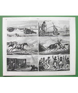 BRAZIL Indians Cattle Hunting Bird Shooting Negro Dance - SUPERB Antique... - $14.84