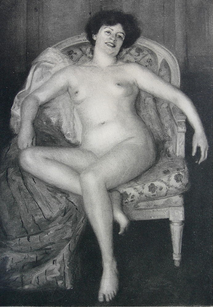 NUDE Young Lady in Arm Chair - VICTORIAN Vintage Print Engraving