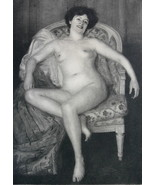 NUDE Young Lady in Arm Chair - VICTORIAN Vintag... - $14.84