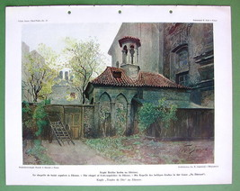 PRAGUE Chapel of Holy Sepulcher - COLOR Antique Print - $14.84