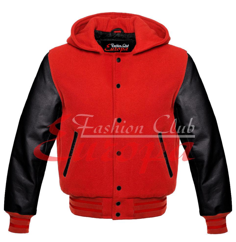 6f8ff7cf420 AMERICAN VARSITY JACKET Red/BLACK LETTERMAN WOOL&REAL LEATHER COLLEGE HOODIE