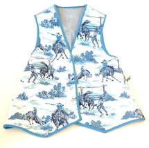 Wesern cowgirl cowboy vest ladys 12 med lg cotton buffalo nickel button... - $42.00