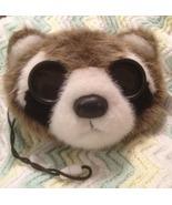 "RACCOON BINOCULARS Childrens Plush Stuffed Animal Head Mask Toy 8"" Applause Good - $14.00"