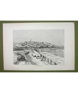 ISRAEL Jaffa Ancient Joppe Joppa - 1880s Antique Print - $12.38