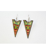 Leather HandPainted Tribal Earrings  - $12.50
