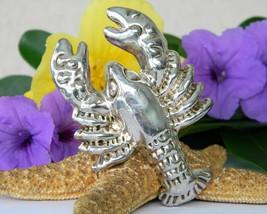 Vintage Lobster Brooch Pin Pendant Bat Ami Israel Electroform Silver - $79.95