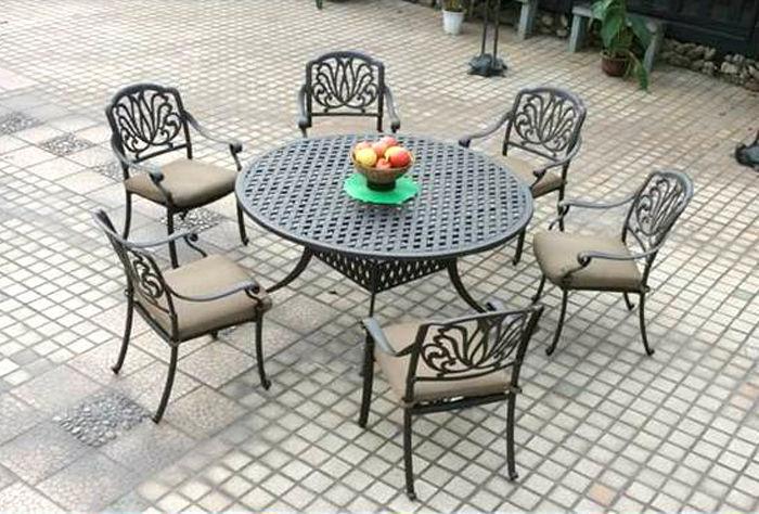 "Outdoor furniture set patio chairs round table 60"" Elisabeth aluminum Antique"