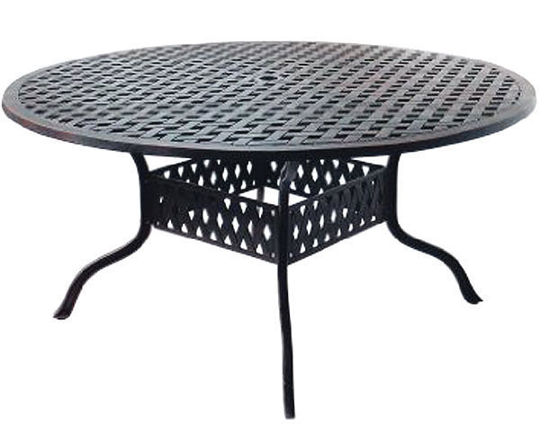 "Outdoor furniture set patio chairs round table 60"" Elisabeth aluminum Antique image 2"