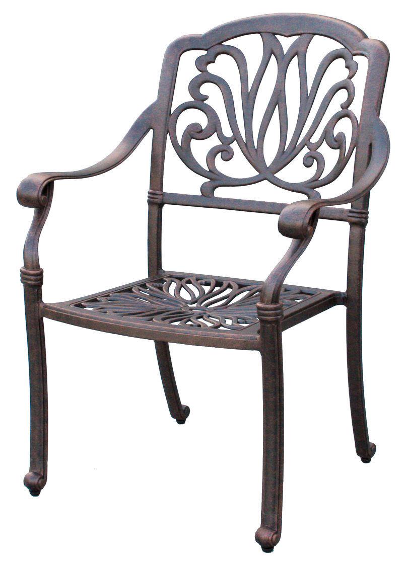 "Outdoor furniture set patio chairs round table 60"" Elisabeth aluminum Antique image 3"