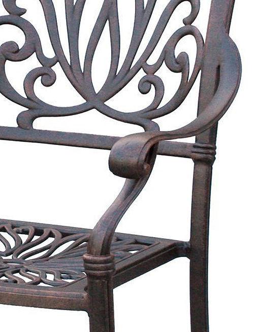 "Outdoor furniture set patio chairs round table 60"" Elisabeth aluminum Antique image 4"