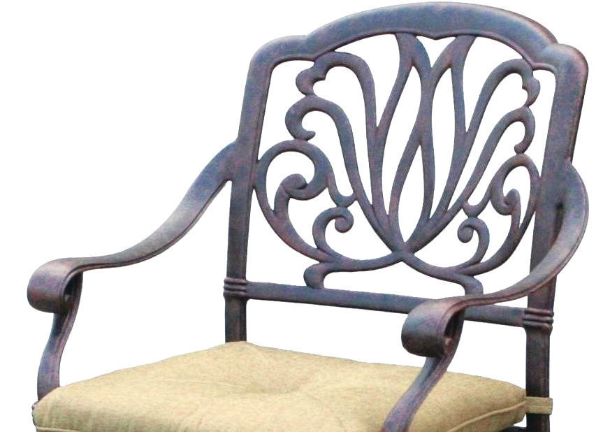 "Outdoor furniture set patio chairs round table 60"" Elisabeth aluminum Antique image 5"