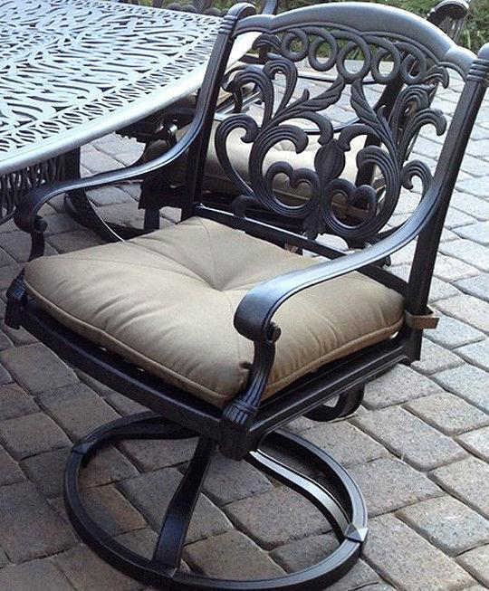 Outdoor Patio dining Set 7 Pc furniture Cast Aluminum Antique Flamingo Bronze image 2