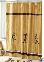 Avanti Linens Kokopelli Fabric Shower Curtain, 12 Deluxe Shower Hooks, Gold - $49.01