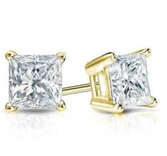 1ct Princess Cut Square Earrings Solid 14K Yellow Gold Heavy Basket Studs