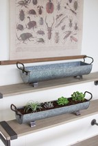Awesome Set of 2 Oblong Zinc  Garden Planters,22.5'' & 25.5''Wide. - $153.45