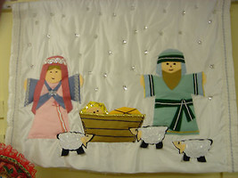 CHILDRENS NATIVITY WALL HANGING, FELT FIGURES, APPROX 4 FT X 3 FT - $8.60