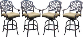 Patio Bar Stools Set of 4 Elizabeth Aluminum Antique Outdoor Barstool Bronze image 1