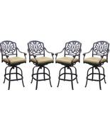 Patio Bar Stools Set of 4 Elizabeth Aluminum Antique Outdoor Barstool Br... - $1,125.00