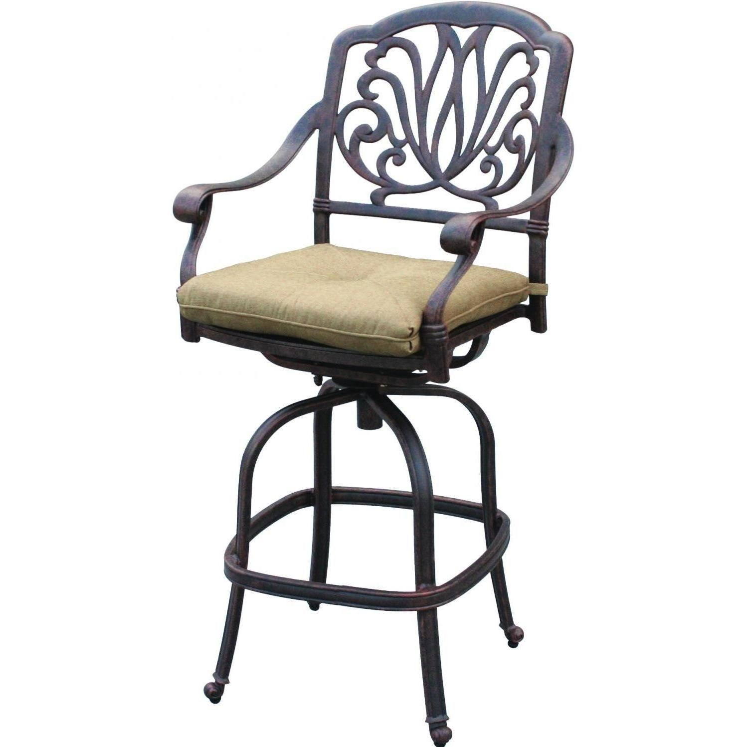 Patio Bar Stools Set of 4 Elizabeth Aluminum Antique Outdoor Barstool Bronze image 2