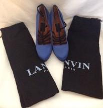 Lanvin Blue & Black Satin Patent Leather Pumps Sz 39 w/ dust bags Made i... - $126.21