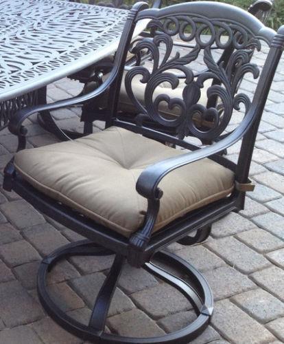 Patio set of 4 chairs outdoor Cast Aluminum swivel rocker Antique Flamingo Bronz image 2