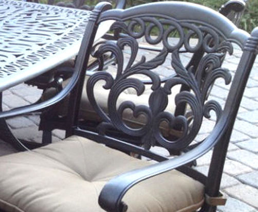 Patio set of 4 chairs outdoor Cast Aluminum swivel rocker Antique Flamingo Bronz image 3