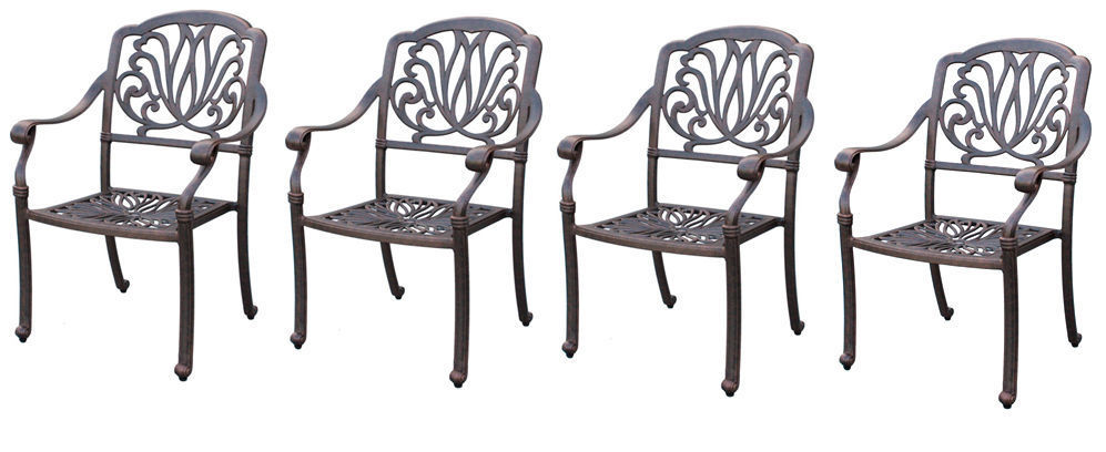 Outdoor furniture dining chair patio set of 4 Elisabeth solid cast aluminum
