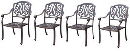Outdoor furniture dining chair patio set of 4 Elisabeth solid cast aluminum - $956.00