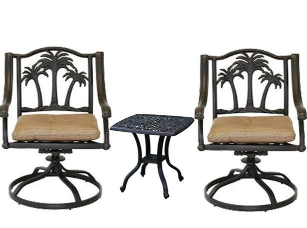 3 piece bistro patio set palm tree cast aluminum end table Bronze Antique Chairs