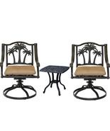 3 piece bistro patio set palm tree cast aluminum end table Bronze Antiqu... - $756.00