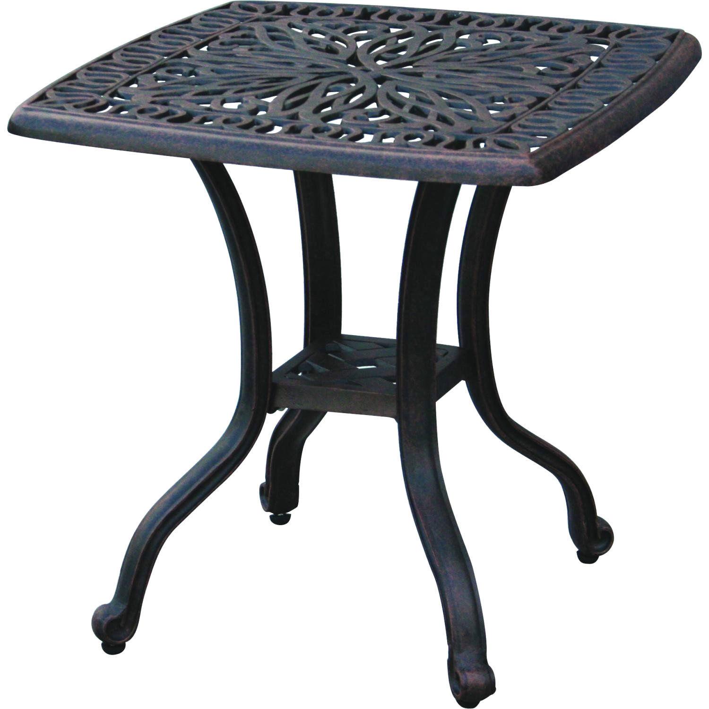 3 piece bistro patio set palm tree cast aluminum end table Bronze Antique Chairs image 2