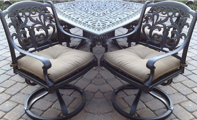 3 piece patio furniture Flamingo swivel rocker Chairs aluminum end table bronze image 1