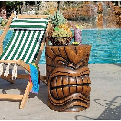 Tiki Garden Statue Table Wood Mask Outdoor Sculpture Pool Patio Home Furniture