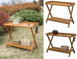 Garden POTTING TABLE Outdoor Storage WORK STATION Planting Bench Wood Pa... - $101.54