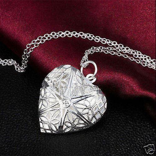 STERLING SILVER FILIGREE HEART PHOTO LOCKET