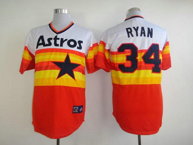 Number 34 Nolan Ryan Jerseys Astros white orange t shirts for sale  USA